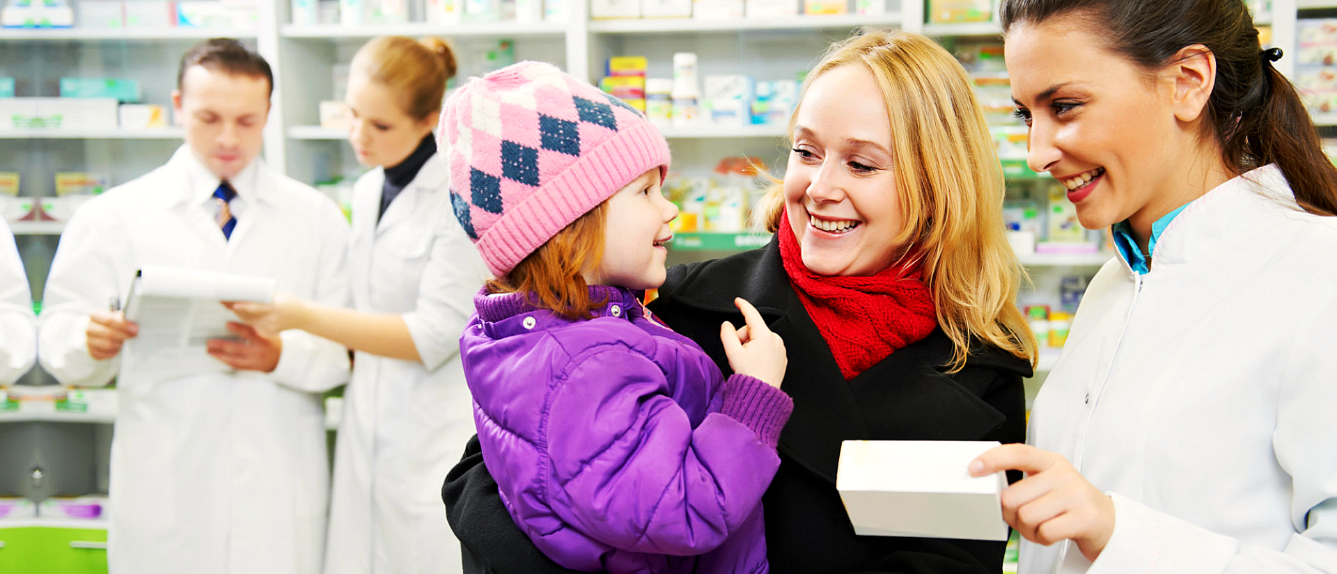 pharmacist with a customer