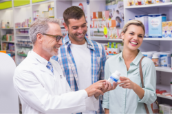 a pharmacist with customers